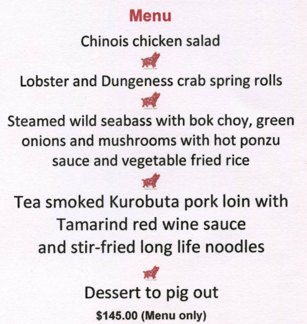 Chinois Chinese New Year menu 201