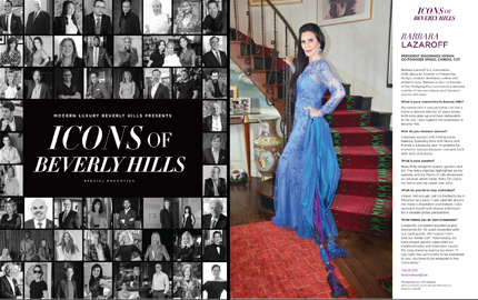 Angeleno Magazine, Icons of Beverly Hills feature with Barbara Lazaroff