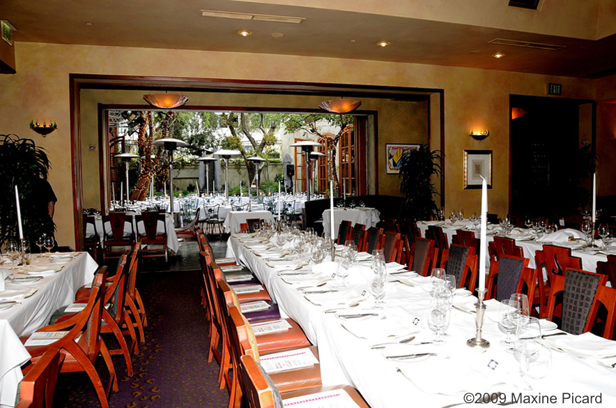The dining room and patio of Spago Beverly Hills.