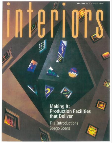 Interiors magazine featuring Barbara Lazaroff. Article: Spago Soars, Spago Beverly Hills