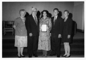 The Ray Bradbury Creativity Award is Given to Barbara Lazaroff, Holding Plaque, Standing with Bradbury at a Woodbury University Library Associates Lecture