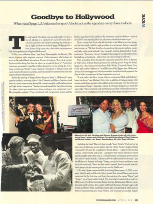 magazine article, Say Goodbye to Hollywood, about Spago Hollywood.