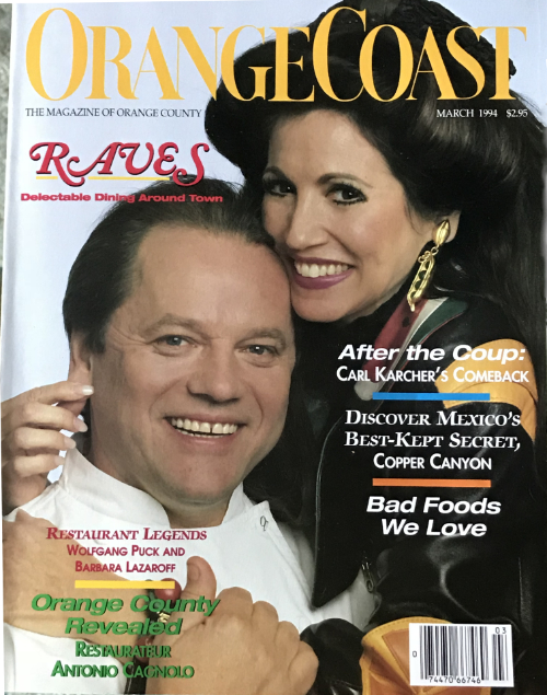 Barbara Lazaroff and Wolfgang Puck featured on cover or Orange Coast magazine March 1994
