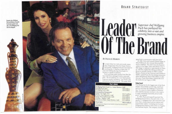 Chain Leader magazine featuring Barbara Lazaroff & Wolfgang Puck 1996
