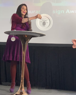 Barbara Lazaroff presenting the AIA|LA Restaurant Design Awards 2019