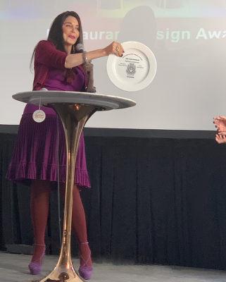 Barbara Lazaroff presenting the AIA|LA Restaurant Design Awards 2019