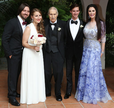 Barbara Lazaroff with her son Byron, father, son Cameron and new wife Kate at their wedding