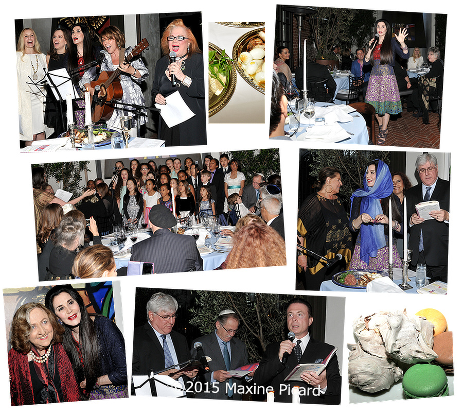 Montage of photos from Barbara Lazaroff's 2015 Seder benefitting Mazon
